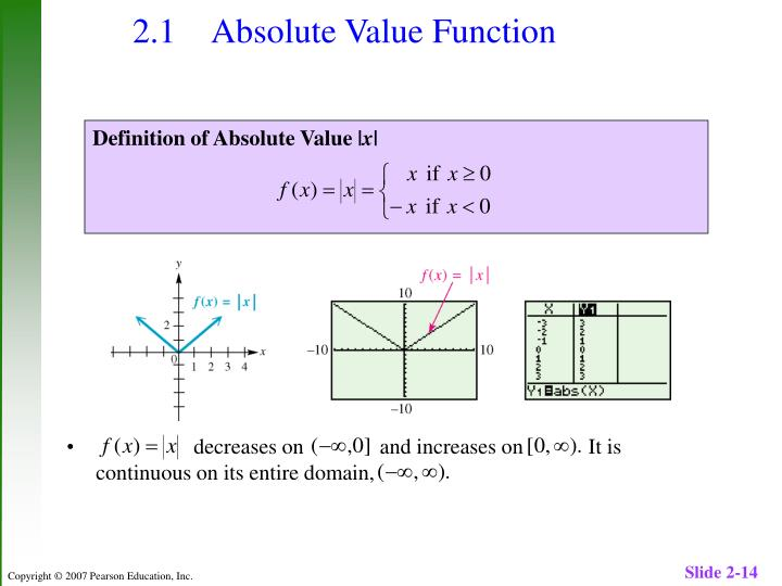 2.1 Absolute Value Function