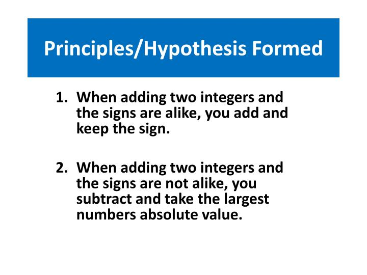 Principles/Hypothesis Formed
