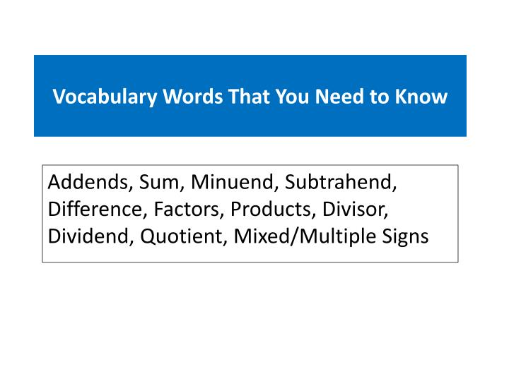 Vocabulary Words That You Need to Know
