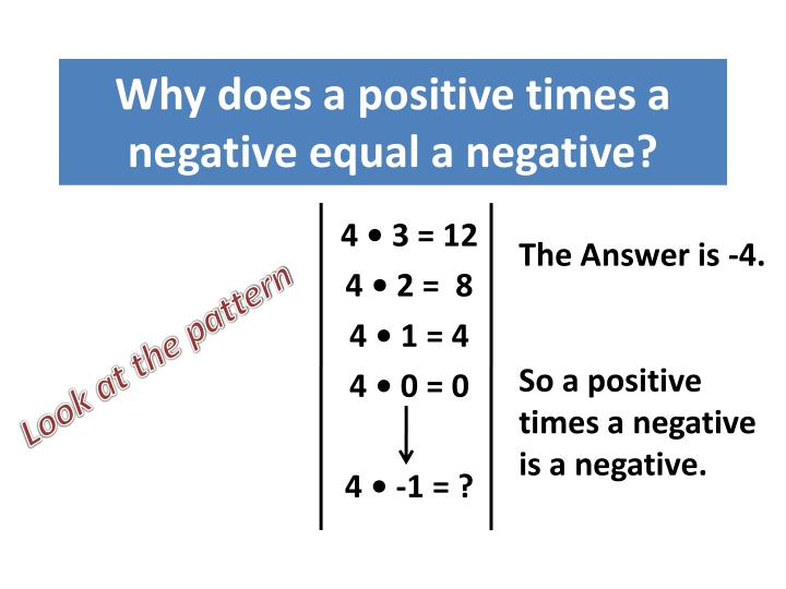 Why does a positive times a negative equal a negative?