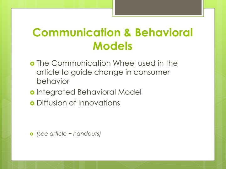 Communication & Behavioral Models