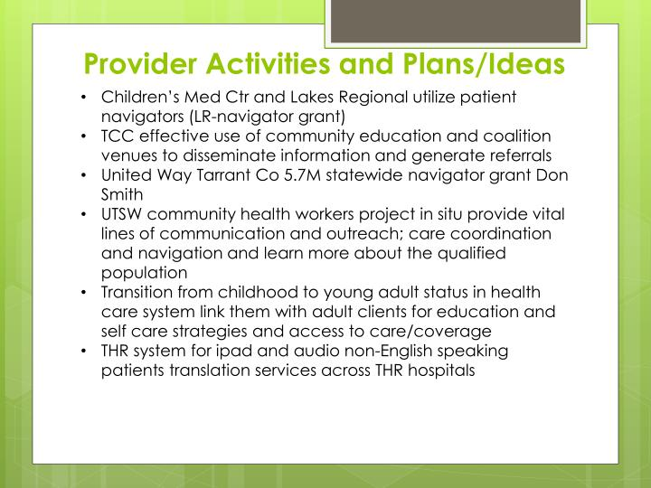Provider Activities and Plans/Ideas