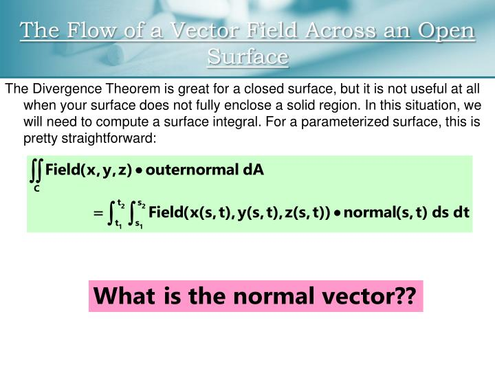 surface integral vector field pdf