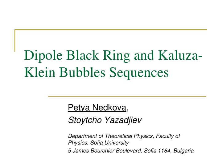 Dipole black ring and kaluza klein bubbles sequences