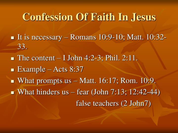 Confession Of Faith In Jesus