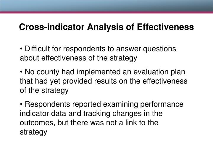 Cross-indicator Analysis of Effectiveness