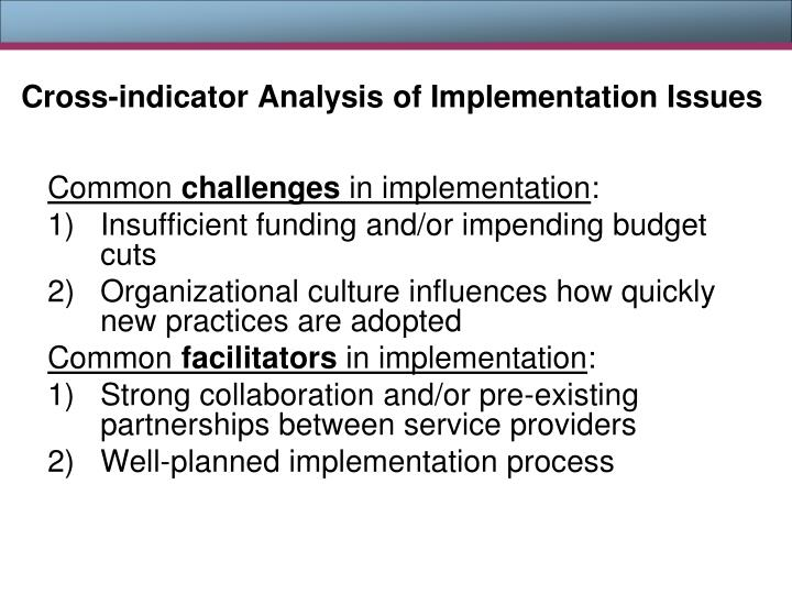 Cross-indicator Analysis of Implementation Issues