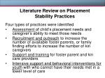 literature review on placement stability practices