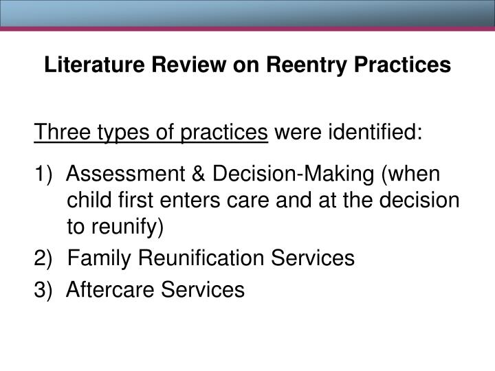 Literature Review on Reentry Practices