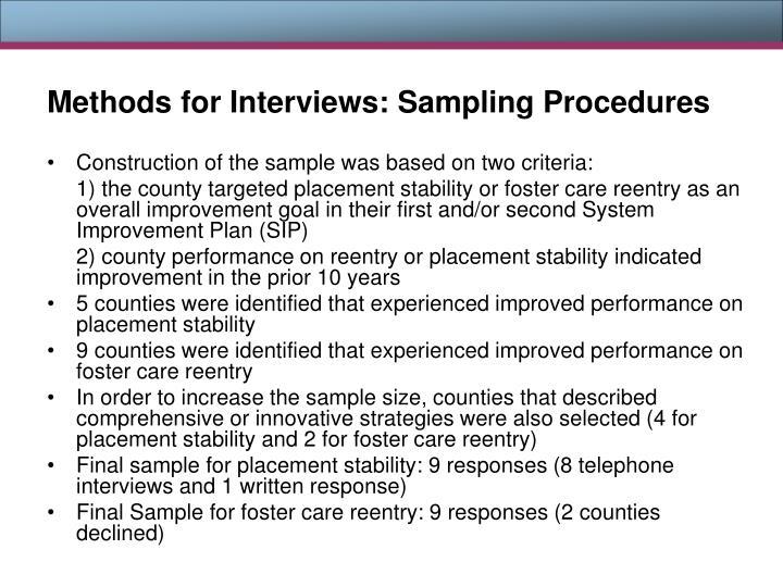 Methods for Interviews: Sampling Procedures