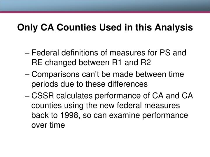 Only CA Counties Used in this Analysis