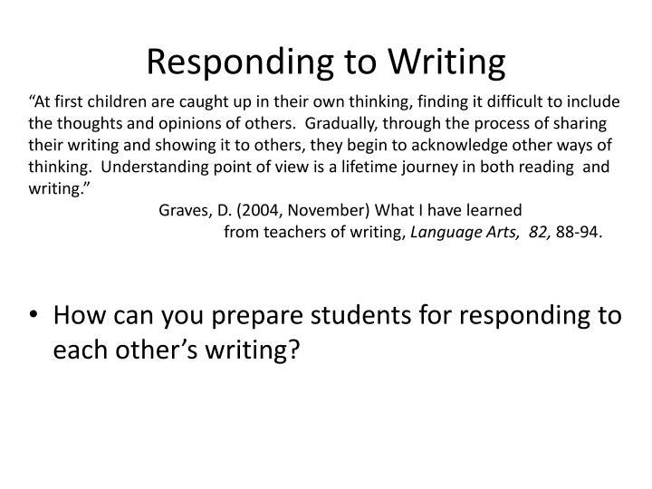 Responding to Writing