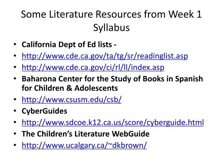 Some Literature Resources from Week 1 Syllabus