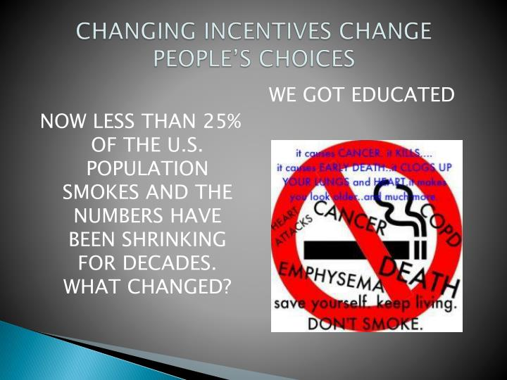 CHANGING INCENTIVES CHANGE PEOPLE'S CHOICES