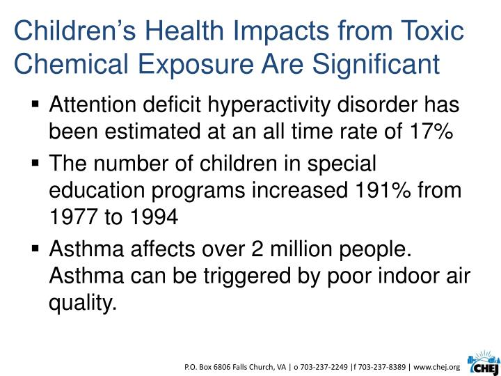 Children's Health Impacts from Toxic Chemical Exposure Are Significant