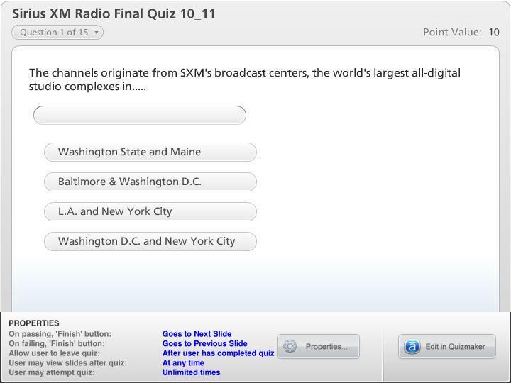 Sirius XM Radio Final Quiz 10_11