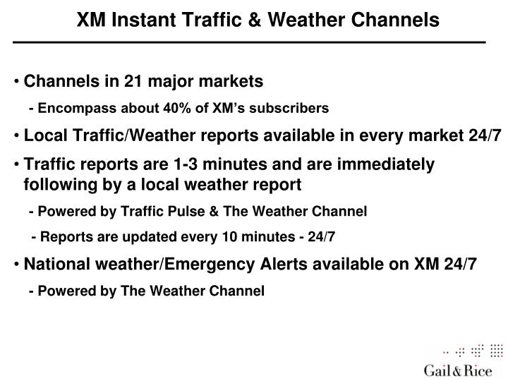 XM Instant Traffic & Weather Channels