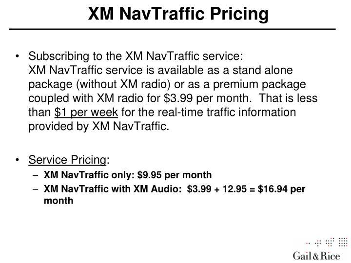 XM NavTraffic Pricing