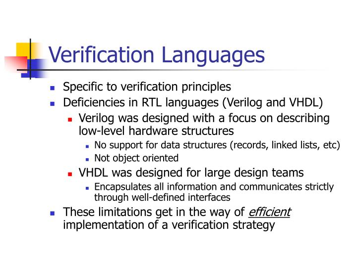 Verification Languages