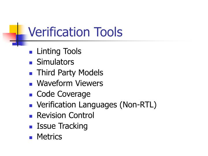 Verification tools1