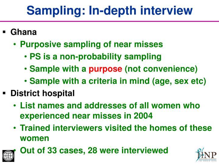 Sampling: In-depth interview