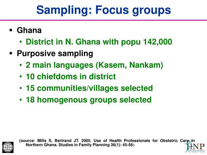 Sampling: Focus groups