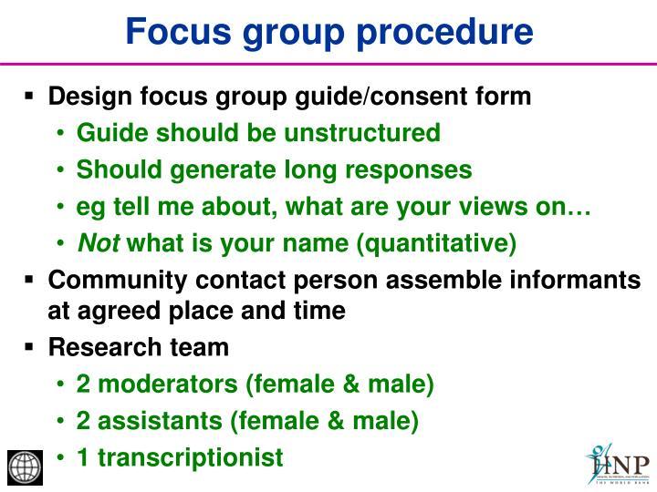 Focus group procedure