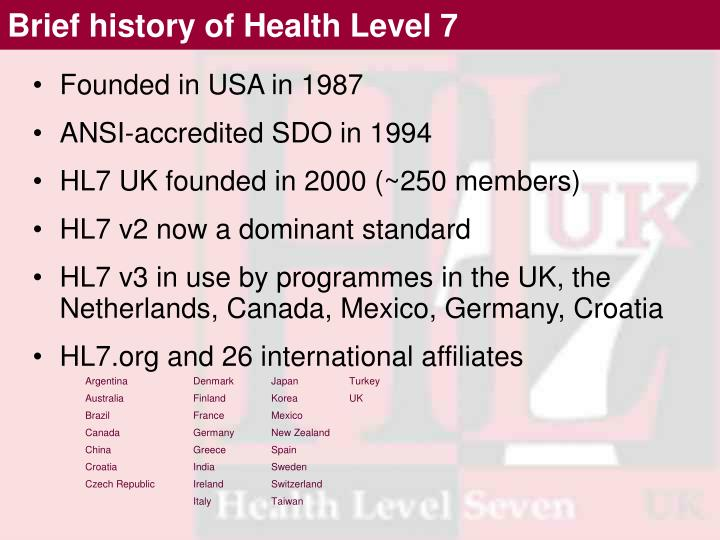 Brief history of Health Level 7