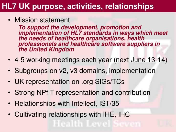 HL7 UK purpose, activities, relationships