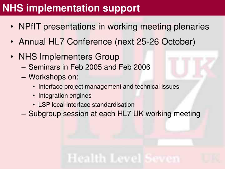 NHS implementation support