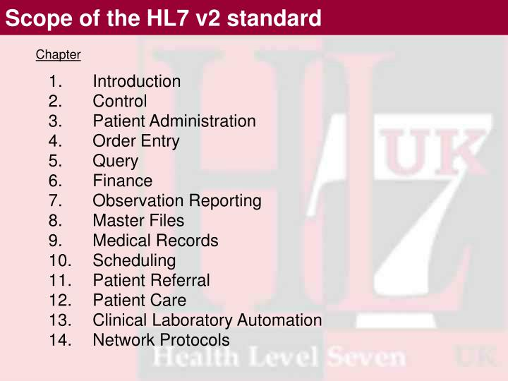 Scope of the HL7 v2 standard