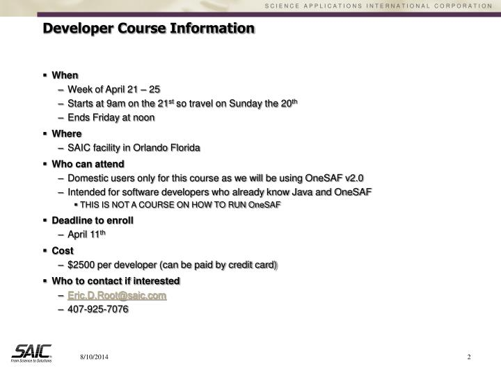 Developer course information