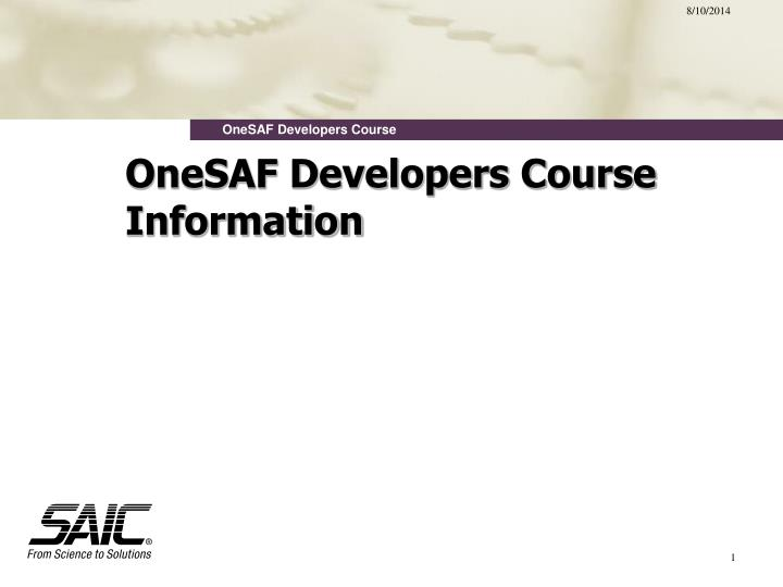 Onesaf developers course information