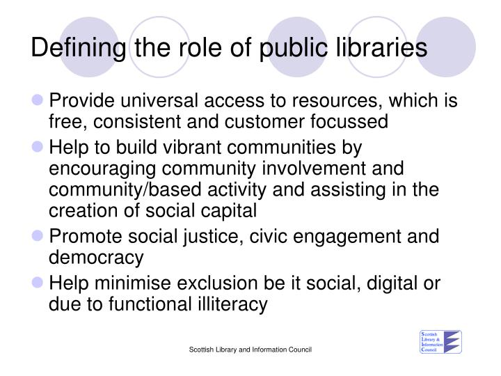 Defining the role of public libraries