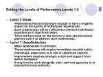 setting the levels of performance levels 1 2