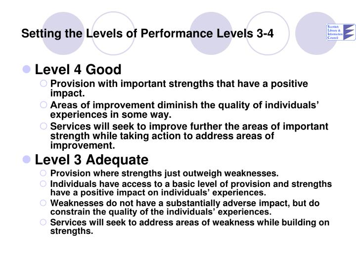 Setting the Levels of Performance Levels 3-4