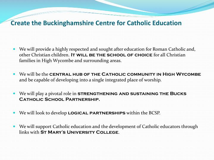 Create the Buckinghamshire Centre for Catholic Education