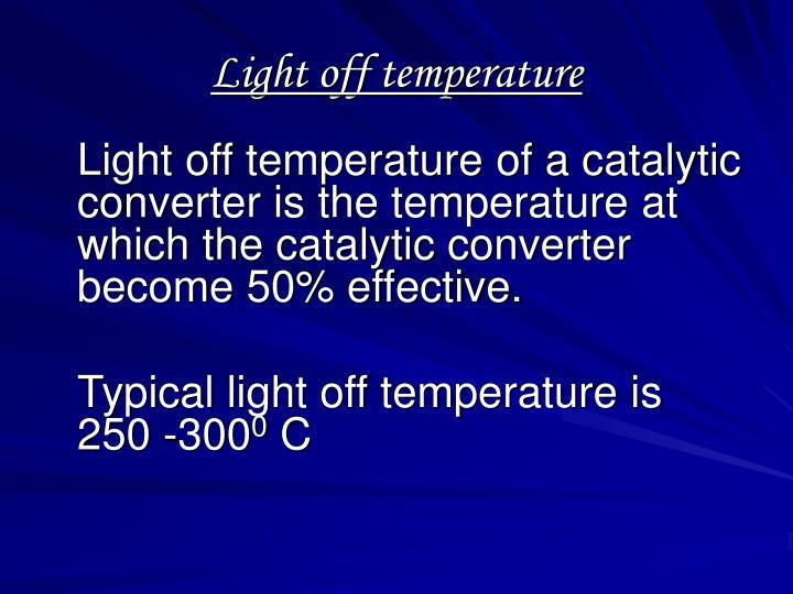 Light off temperature