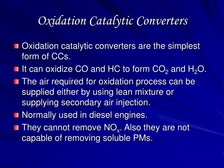 Oxidation Catalytic Converters