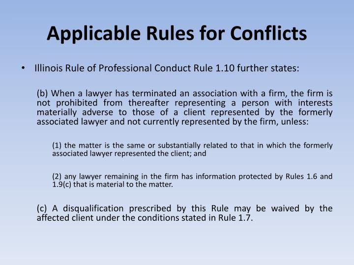 Applicable Rules for Conflicts