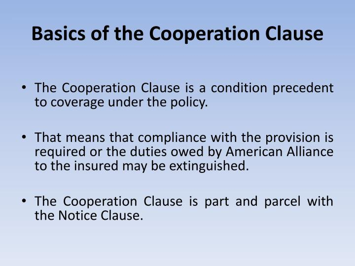 Basics of the Cooperation Clause