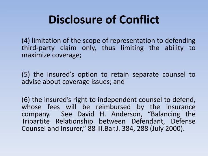 Disclosure of Conflict