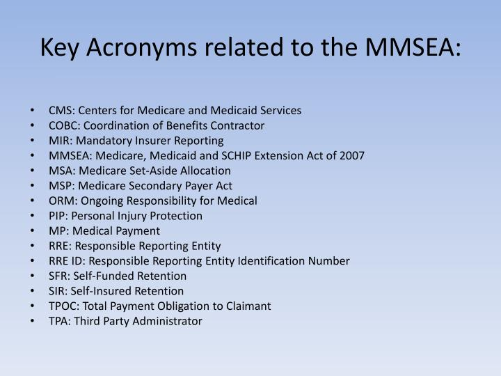 Key Acronyms related to the MMSEA: