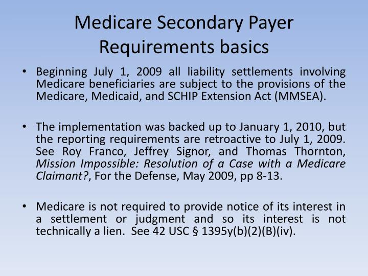 Medicare Secondary Payer Requirements basics