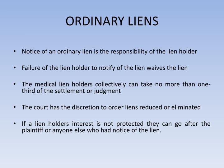ORDINARY LIENS