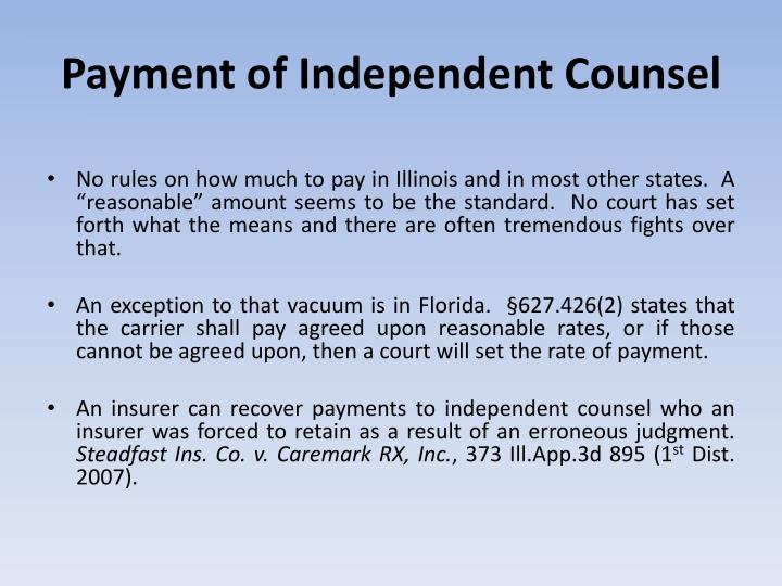 Payment of Independent Counsel