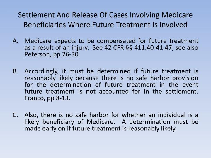 Settlement And Release Of Cases Involving Medicare Beneficiaries