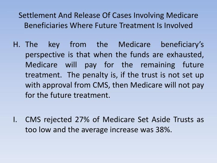 Settlement And Release Of Cases Involving Medicare Beneficiaries Where Future Treatment Is Involved