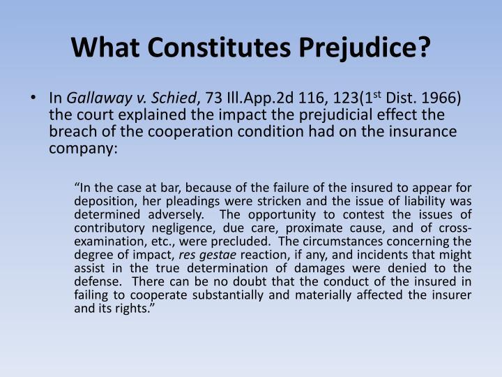 What Constitutes Prejudice?