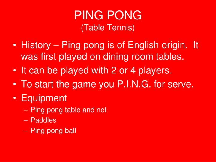 Ppt Ping Pong Table Tennis Powerpoint Presentation